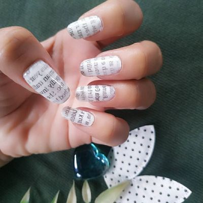 Booksworms Will Love This Newspaper Nail Art ...